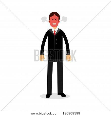 Angry man with red face blowing steam coming out of his ears vector Illustration isolated on a white background