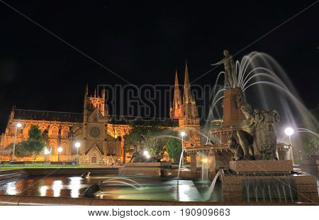 Hyde park and St Marys cathedral night cityscape Sydney Australia
