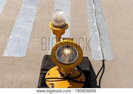 Approach lights of an airfield airport runway