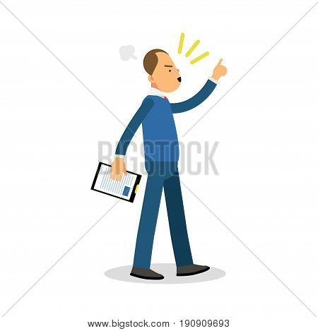 Angry office manager with notepad screaming, upset stressed man vector Illustration isolated on a white background