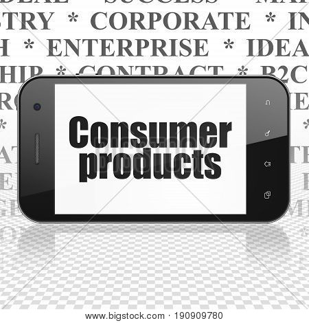 Business concept: Smartphone with  black text Consumer Products on display,  Tag Cloud background, 3D rendering
