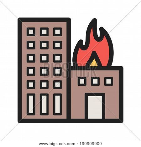 Fire, building, heat icon vector image. Can also be used for firefighting. Suitable for mobile apps, web apps and print media.