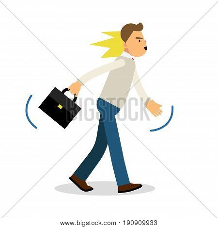 An angry man walking with a briefcase, upset stressed man vector Illustration isolated on a white background