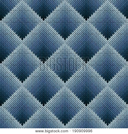 Seamless Knitting Pattern In Bluish Gradation Hues