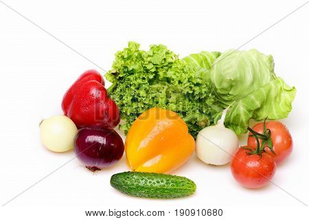Leafy Vegetables, Lettuce Leaf, Tomatoes, Peppers With Cucumber And Onion