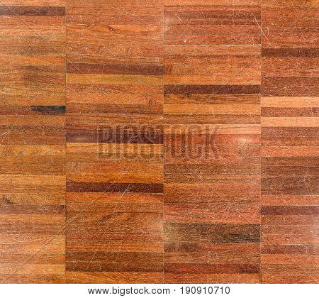 Natural Wood Parket Pattern background texture picture. Old rustic vintage grungy decorative piece of real polished wood. Composite material picture.