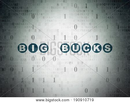 Business concept: Painted blue text Big bucks on Digital Data Paper background with Binary Code