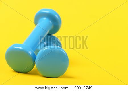 Couple Of Blue Plastic Lightweight Dumbbells