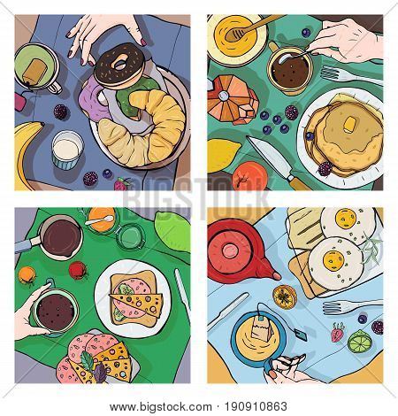 Set of different breakfast, top view. Square illustrations with luncheon. Healthy, fresh brunch coffee, tea, pancakes, sandwiches, eggs, croissants and fruits Colorful hand drawn vector collection