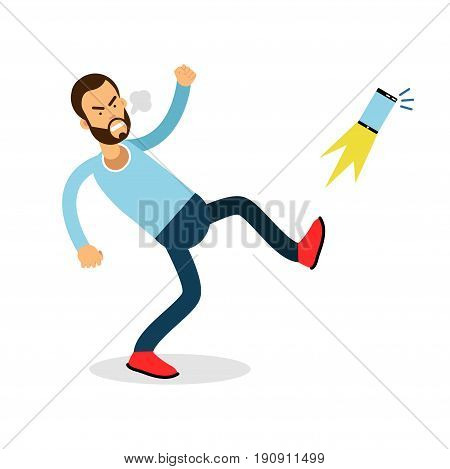 Young furious man shouting and kicking his phone vector Illustration isolated on a white background