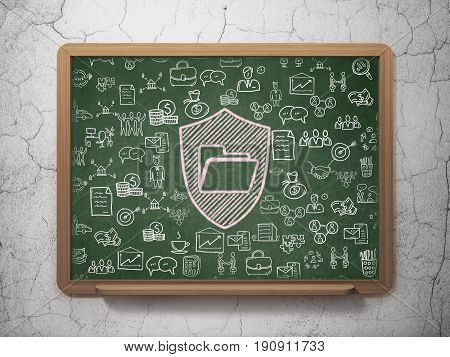 Finance concept: Chalk Pink Folder With Shield icon on School board background with  Hand Drawn Business Icons, 3D Rendering