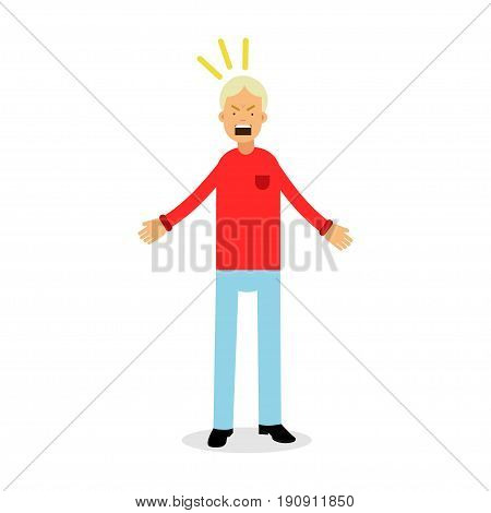 Furious and frustrated man screaming with rage, upset stressed man vector Illustration isolated on a white background