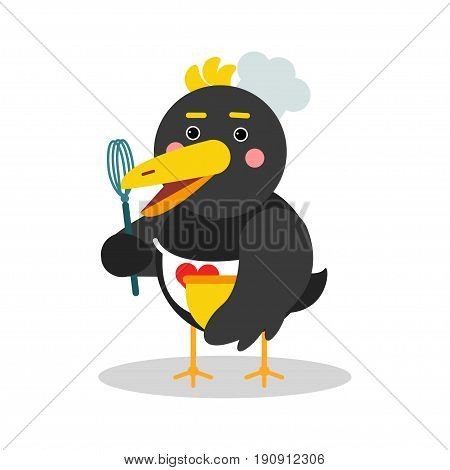 Cute cartoon chief raven character in geometric shape vector Illustration isolated on a white background