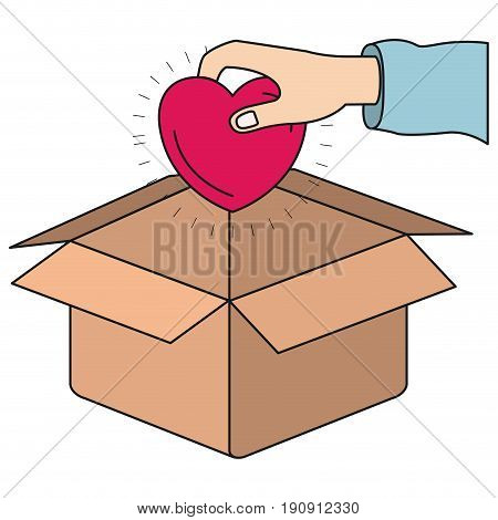 colorful silhouette hand holding a heart to deposit in cardboard box vector illustration
