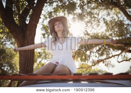 Young woman with arms outstretched sitting on van against tree