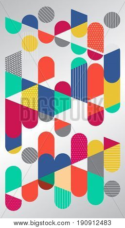 Abstract geometric graphic colorful circle capsule. Flat Dynamic Design. Applicable for Covers Placards Posters Flyers and Banner Designs. Vector illustration.
