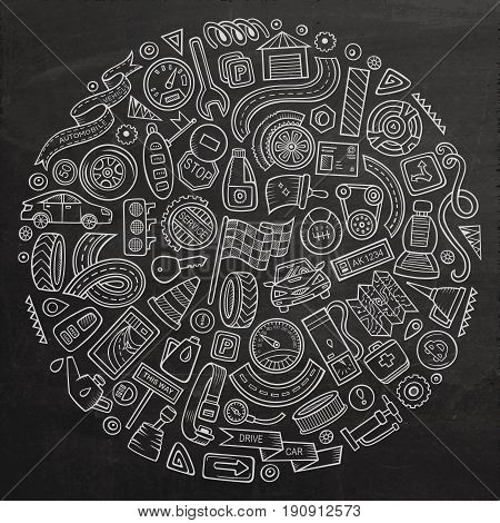 Chalkboard vector hand drawn set of Automobile cartoon doodle objects, symbols and items. Round composition