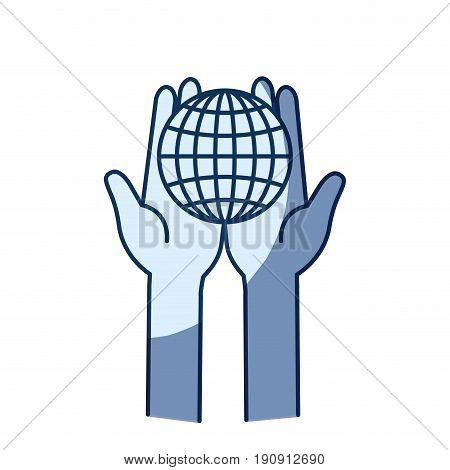 blue color silhouette shading of front view of hands holding in palms a globe chart with lines vector illustration