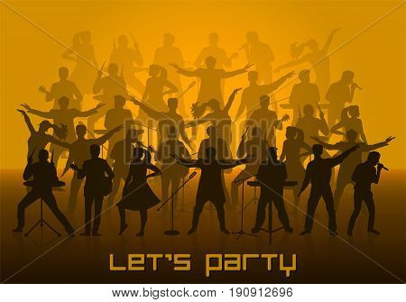 Let's Party Concept. Set Of Silhouettes Of Musicians, Singers And Dancers. Vector Illustration
