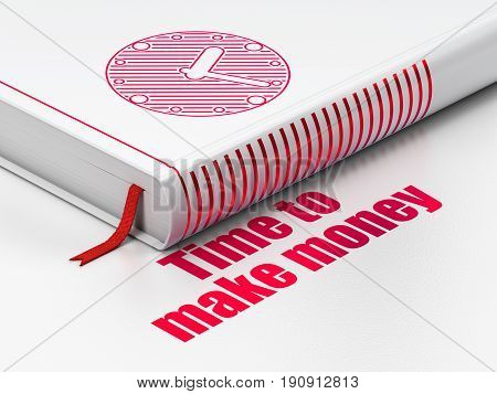 Timeline concept: closed book with Red Clock icon and text Time to Make money on floor, white background, 3D rendering