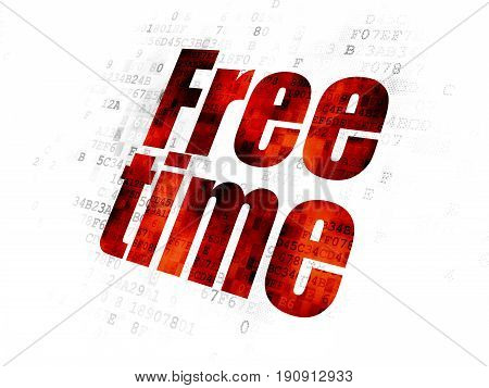 Time concept: Pixelated red text Free Time on Digital background