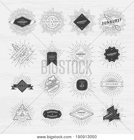 Circle badges set with sunburst frames. Vintage vector labels with place for your text. Retro badge line ray, illustration of sunburst element
