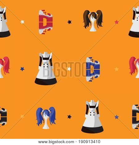 Vector seamless bright pattern with japanese fashion flat objects. Maid dress wig on mannequin shoes on high platform used in lolita cosplay visual kei subculture and japanese street fashion