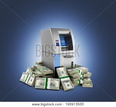 Atm Surrounded By 100 Dollar Bankrolls Bank Cash Machine In Pile Of Money American Dollar Bills On D