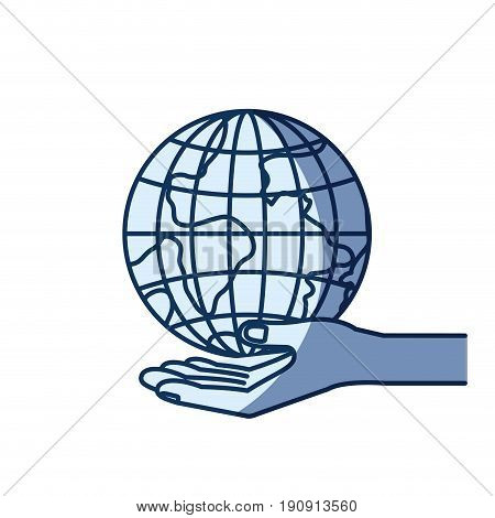 blue color silhouette shading of hand palm giving a earth globe world charity symbol vector illustration