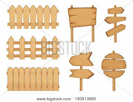 Fences of garden and signs with wood texture. Vector illustration set isolate on white. Wooden fence and wood arrow badge