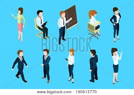 Isometric business people in different action poses. Big boss and office team. Vector illustration set. Isometric team people, staff worker and young manager