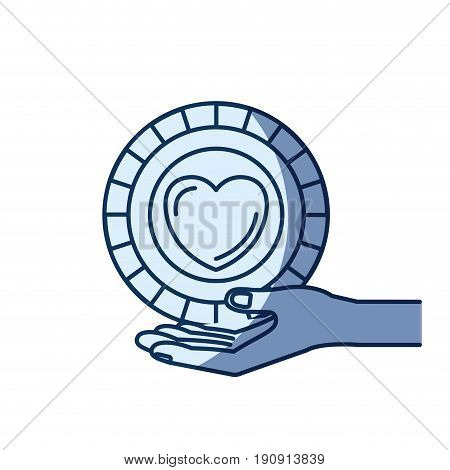 blue color silhouette shading of hand palm giving a coin with heart shape inside charity symbol vector illustration