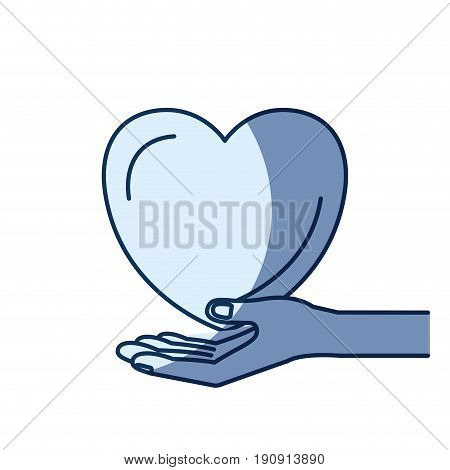 blue color silhouette shading of hand palm giving a heart charity symbol vector illustration
