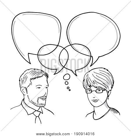 Hand drawn illustration of dialog between man and woman. Human business communication vector concept. Dialog people with speech bubble