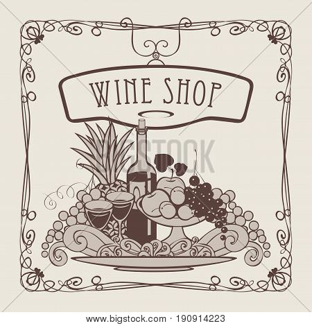 Vector banner for wine shop with a picture of a hand with a tray on which is a still life with two glasses of wine bottle and fruits in an Art Nouveau style with a curly frame.