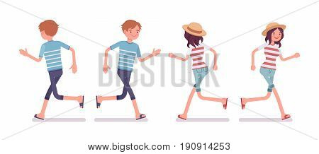 Young smiling man and woman wearing blue leisure summer fit, trendy stripe print, beach shoes, running pose. Front and rear view. Vector flat style cartoon illustration, isolated, white background