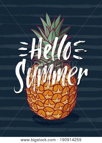Background illustration with tropical pineapple and hand writing words hello summer. Vector fruit illustration. Hello summer banner with tropical fruit