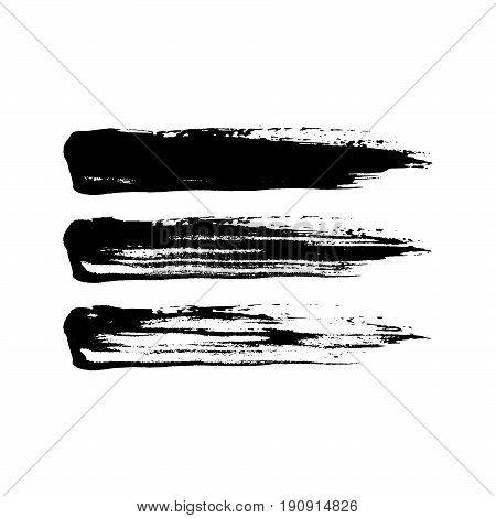 Grunge paint brush stroke set. Vector black paint brush stroke textures isolated on white. Vector illustration