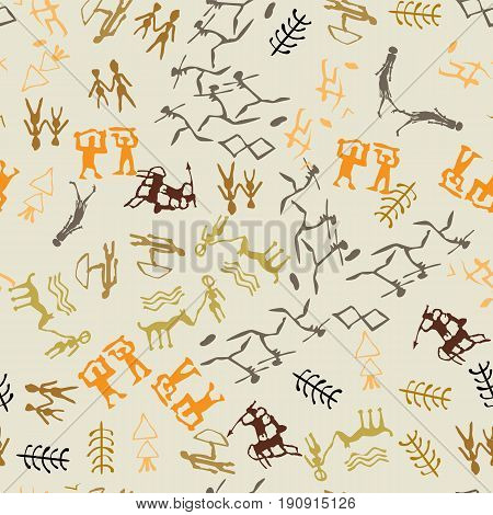 Seamless vector rock drawing. Cave painting with ethnic people.