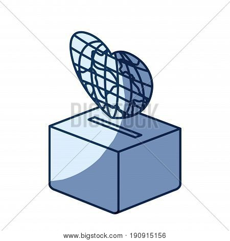blue color silhouette shading of flat globe earth world in heart shape depositing in a carton box vector illustration