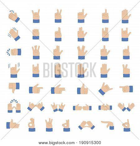Set of hand emoticon vector isolated on white background. Gestures emoji vector. Smile icon set. Emoticon icon web.