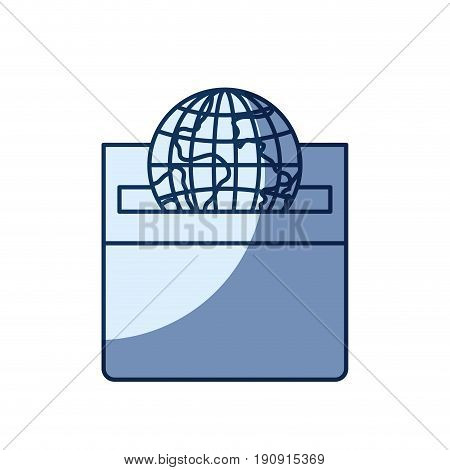 blue color silhouette shading of front view flat globe earth world depositing in a carton box vector illustration