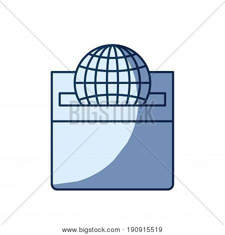 blue color silhouette shading of front view flat globe earth world chart depositing in a carton box vector illustration