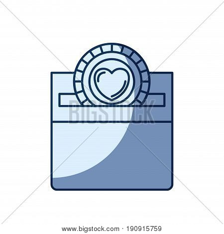 blue color silhouette shading of front view flat coin with heart symbol inside depositing in a carton box vector illustration