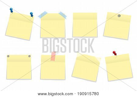 Pack Of Yellow Office Paper Stickers With Shadow Isolated On White. Vector Illustration