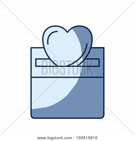 blue color silhouette shading of front view flat heart depositing in a carton box vector illustration