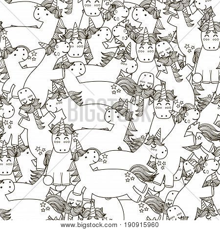Doodle unicorns seamless pattern. Black and white fantasy background. Great for coloring book, wrapping, printing, fabric and textile. Vector illustration