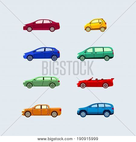 Car Classification - modern vector flat design icons set. Hardtop, sedan, mini, microcar, hatchback, minivan, station wagon, cabriolet, coupe, pickup, SUV. Know vehicle types and drive safe.