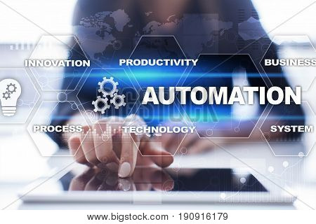 Automation concept as an innovation, improving productivity, reliability and repeatability in technology and business processes.