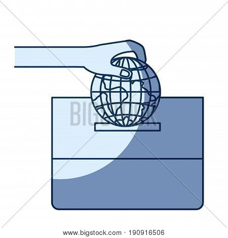 blue color silhouette shading of front view hand with flat globe earth world depositing in a carton box vector illustration